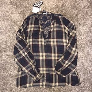 Long Sleeve Plaid Blouse with Lace Back